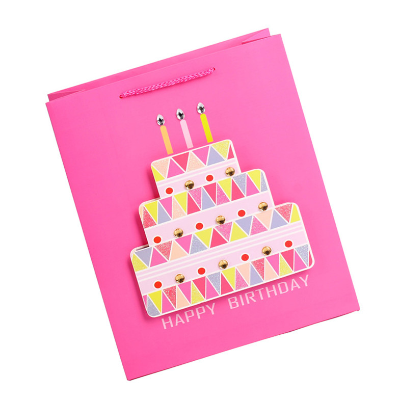 Stock Promotional Lovely Cheap Cake Pattern Kraft Square Party Paper Packing Bags With Logo Printing