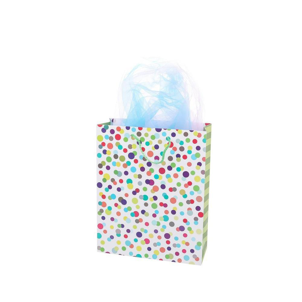 New Design Colorful Dots Romantic Birthday Craft Paper Gifts Bags With Handles Printed Bags