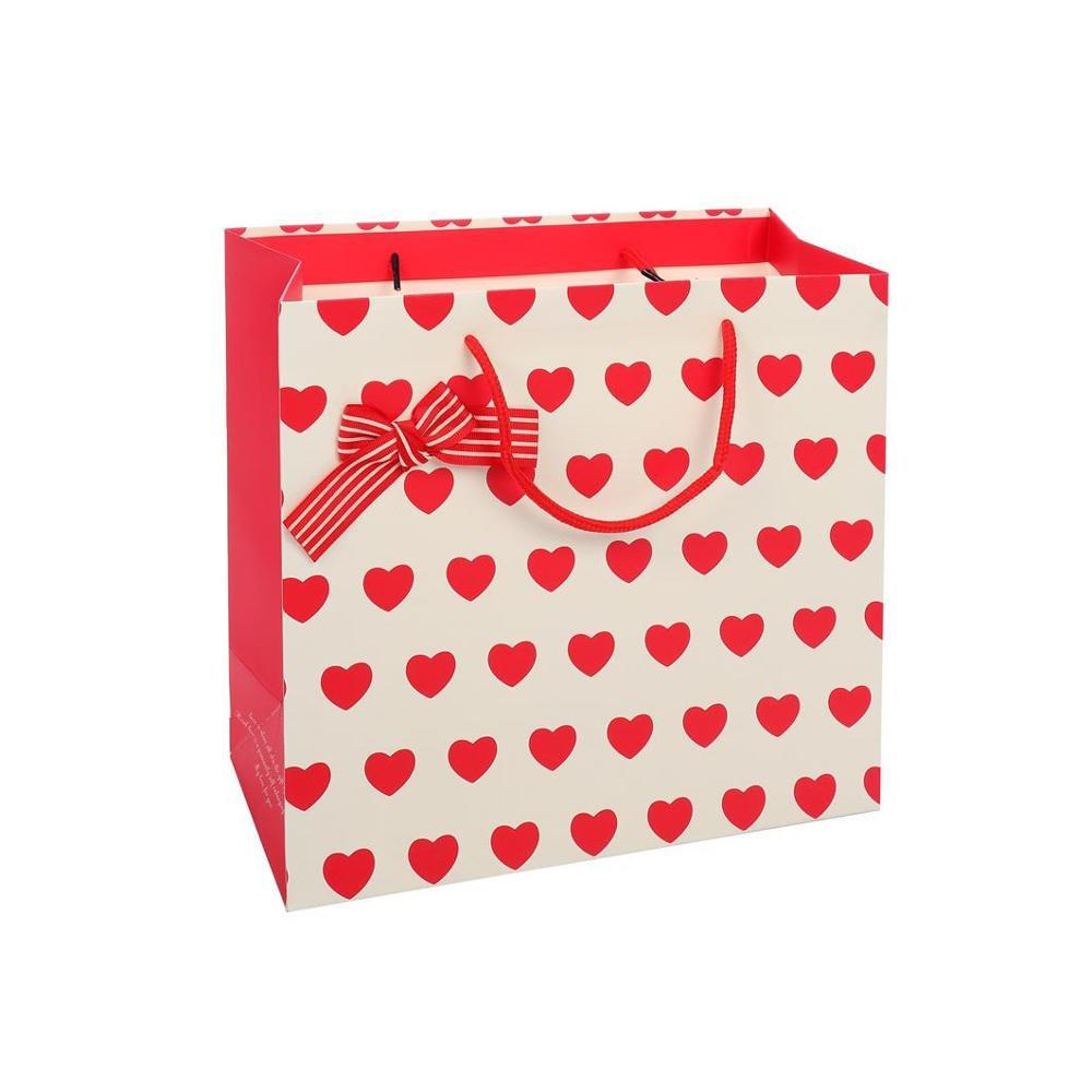 New Design High Quality Sweet Eco-Friendly Logo Printing Square Red Shopping Paper Gift Bags