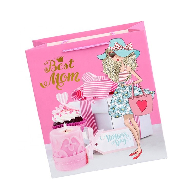 Wholesale Custom Fashion Colorful Eco-friendly Fancy Gift Packaging Mother's Day Thank You Bags With Flower Printed