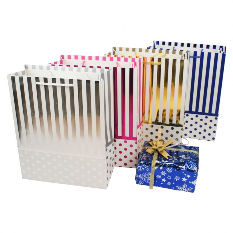 High quality gift packaging paper bags glitter stripes paper gift bags with handle