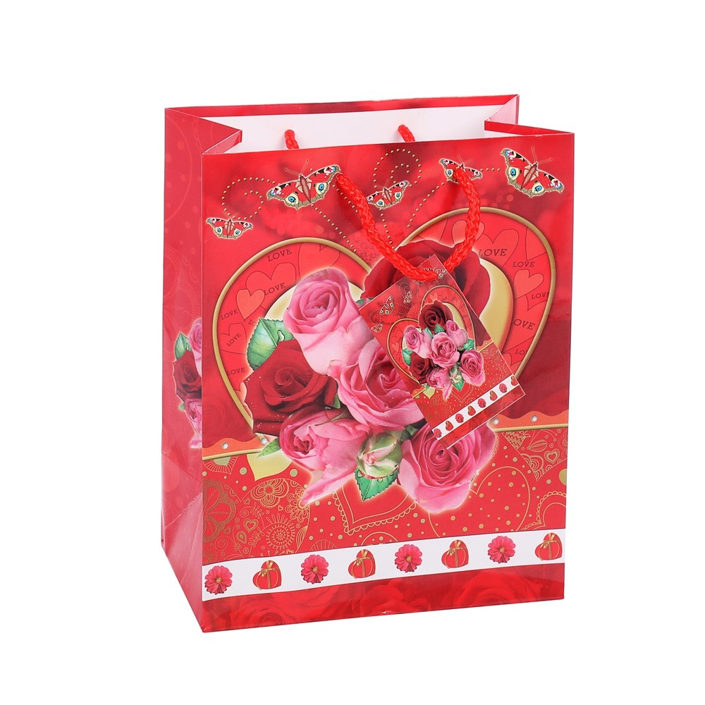 Fancy Festive Elegant Design Foldable Red Floral Gift Shopping Bags With Handles