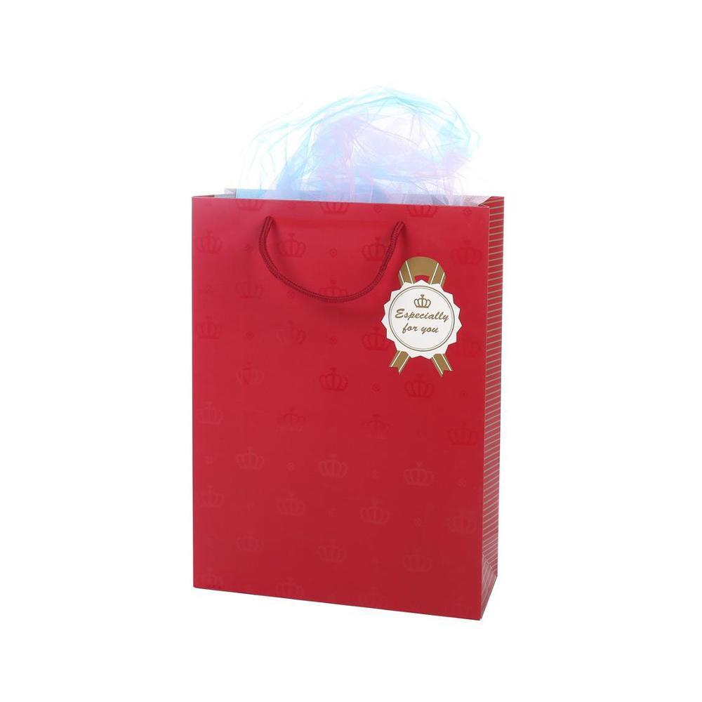 Wholesale Recycled Durable Cheap Red Paper Wrapping Bags With Handles For Gifts Packaging