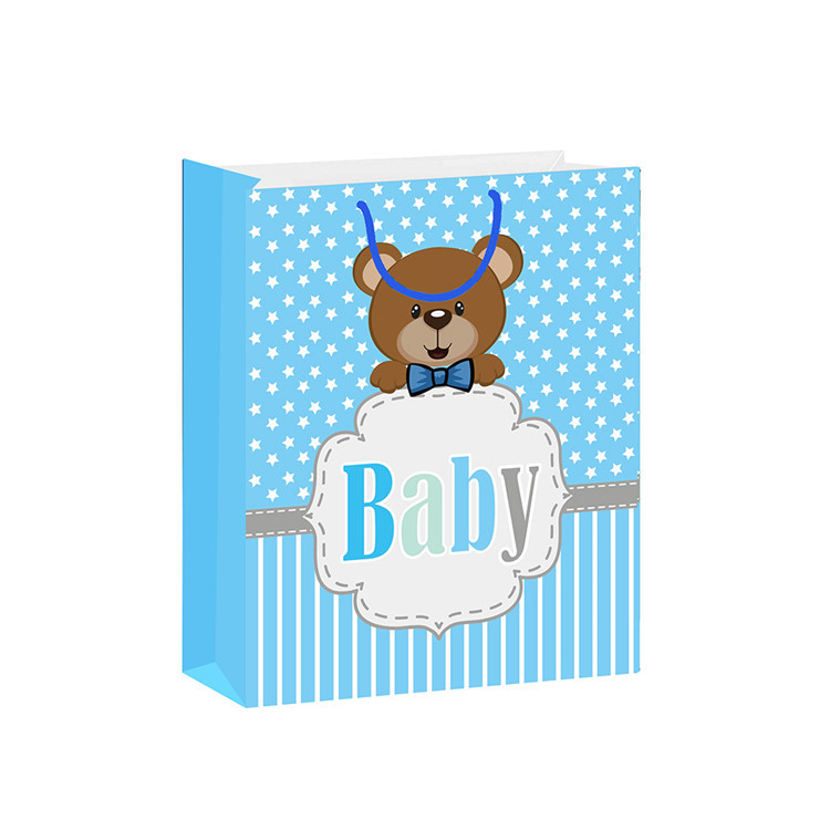 Promotional High Quality Blue Eco-friendly Durable Embossing Fancy Cartoon Paper Bags For Baby
