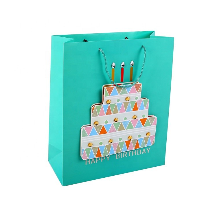 Best Selling DIY Handmade Christmas Cartoon Design Gift Paper Bag With Handle