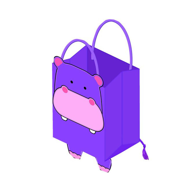 New Design Foldable Reusable Paper Shopping Bag With Drawstring, Printed Purple Paper Bags