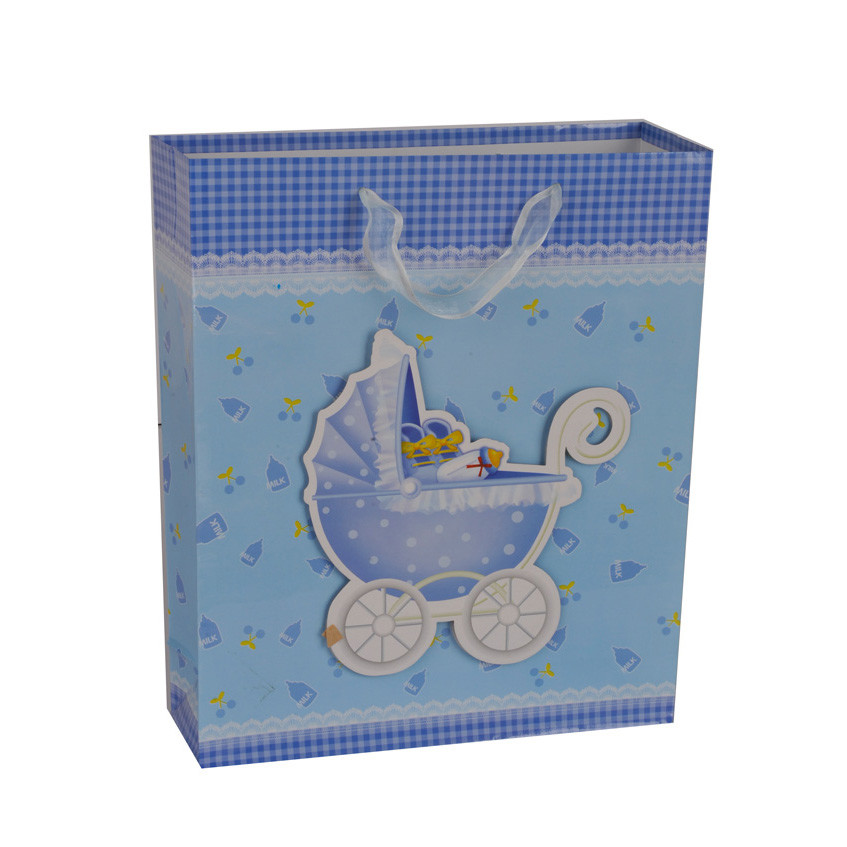 Unique Design Double Handle Embossing Blue Pram Paper Gift Bag For Baby