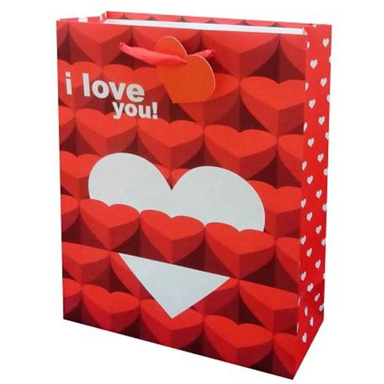 High Quality Custom Printed Red Colored Handbag Discount Shopping Wedding Paper Bags