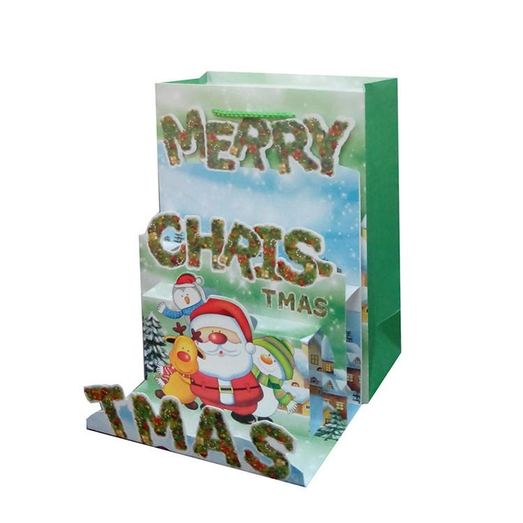High Quality Decorative Handmade Custom Logo Printing Christmas Paper Gift Bag, Cheap Paper Shopping Bag