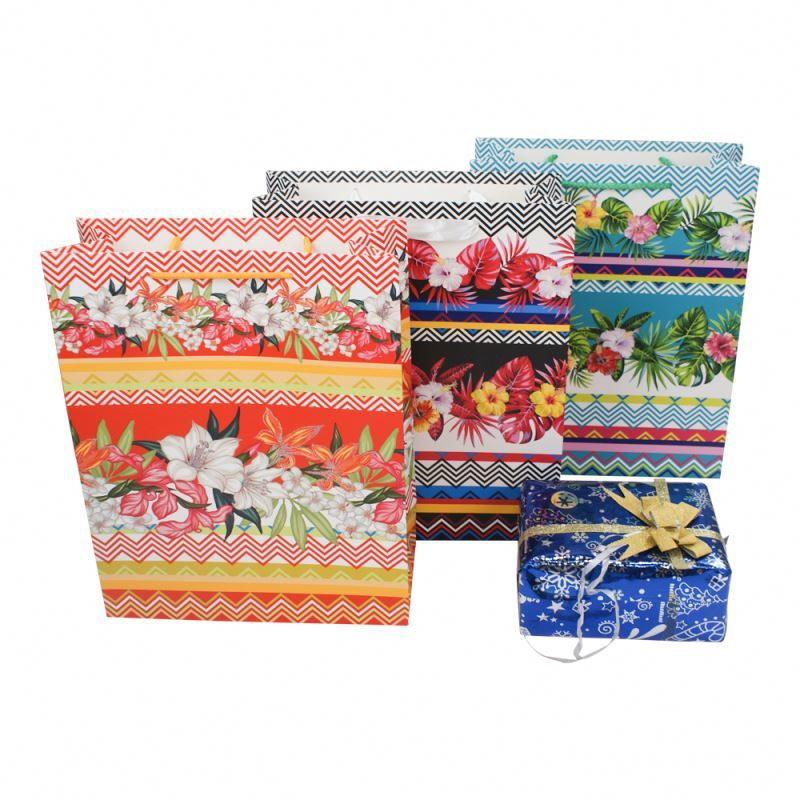 Professional supplier floral dusting women fashion paper packing bag reusable shopping paper bag