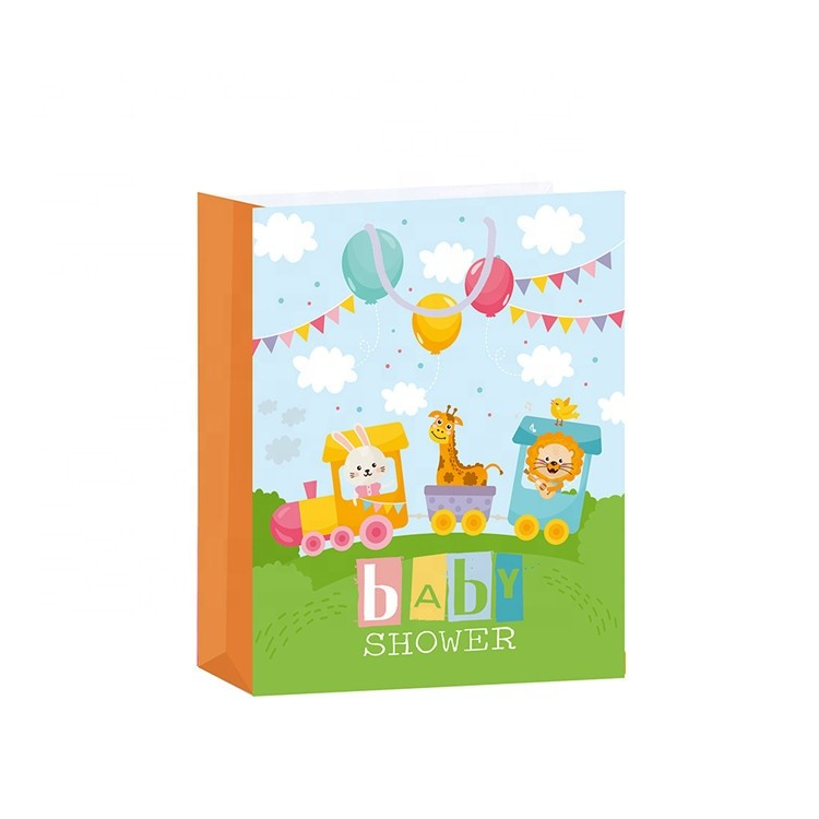 Chinese Eco-Friendly Cute Colorful Square Mini Baby Gift Kraft Paper Bags