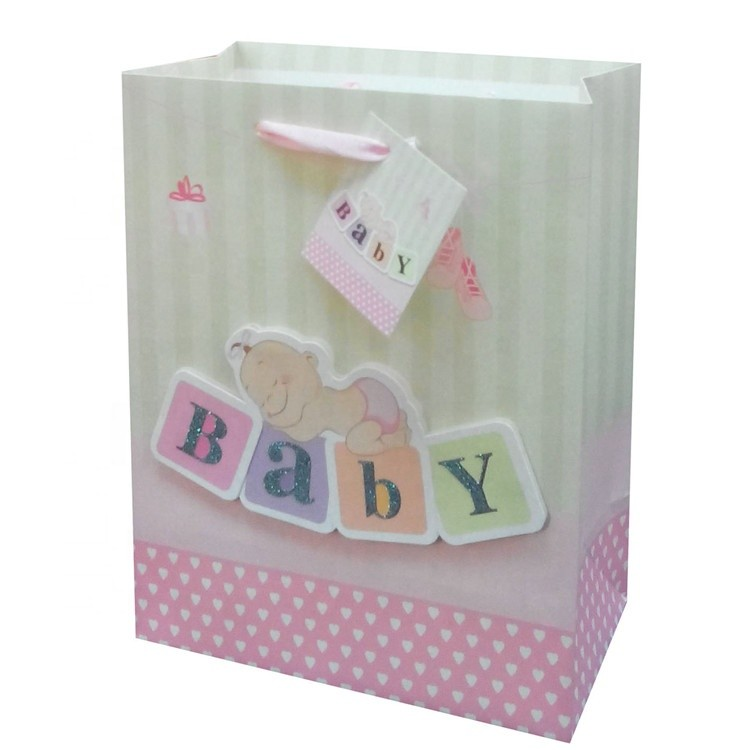 Promotional Special Design Square Bottom Christmas Packaging Paper Gift Bag For Baby