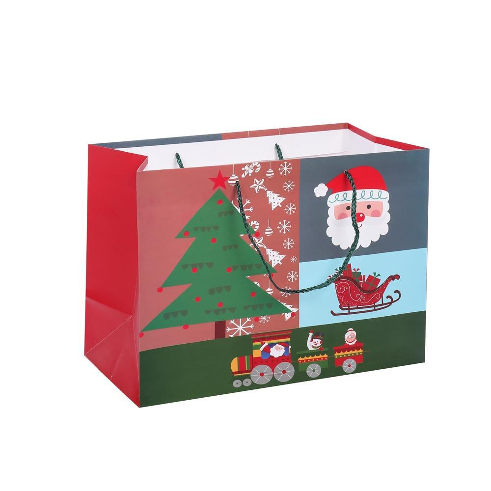 Christmas Custom Logo Printing Eco-friendly Paper Gift Bags With Rope Handles