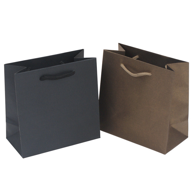 Customized recyclable kraft paper bag solid color kraft paper gift packing bag