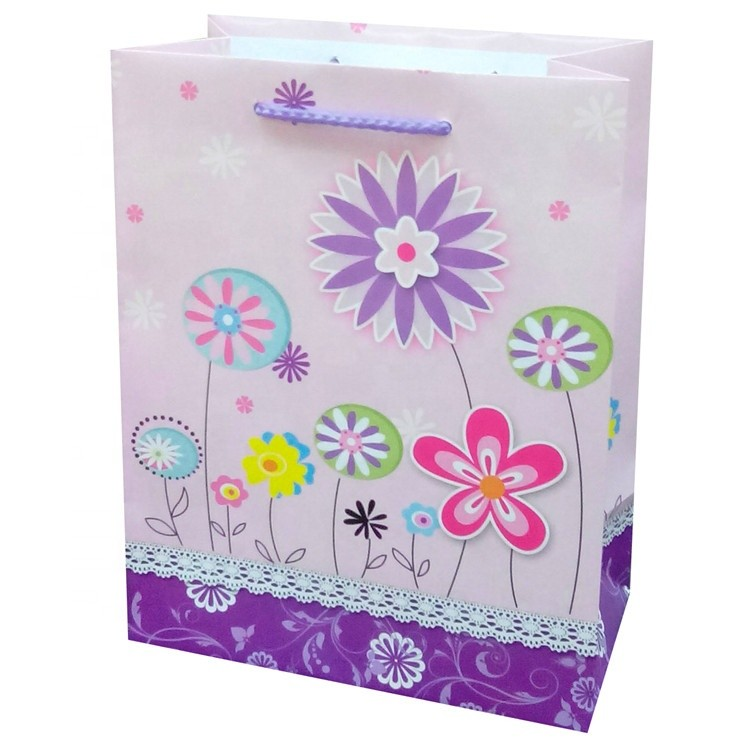 Wholesale Eco-friendly Printing Cartoon Flower Packaging Paper Bag With Rope Handle