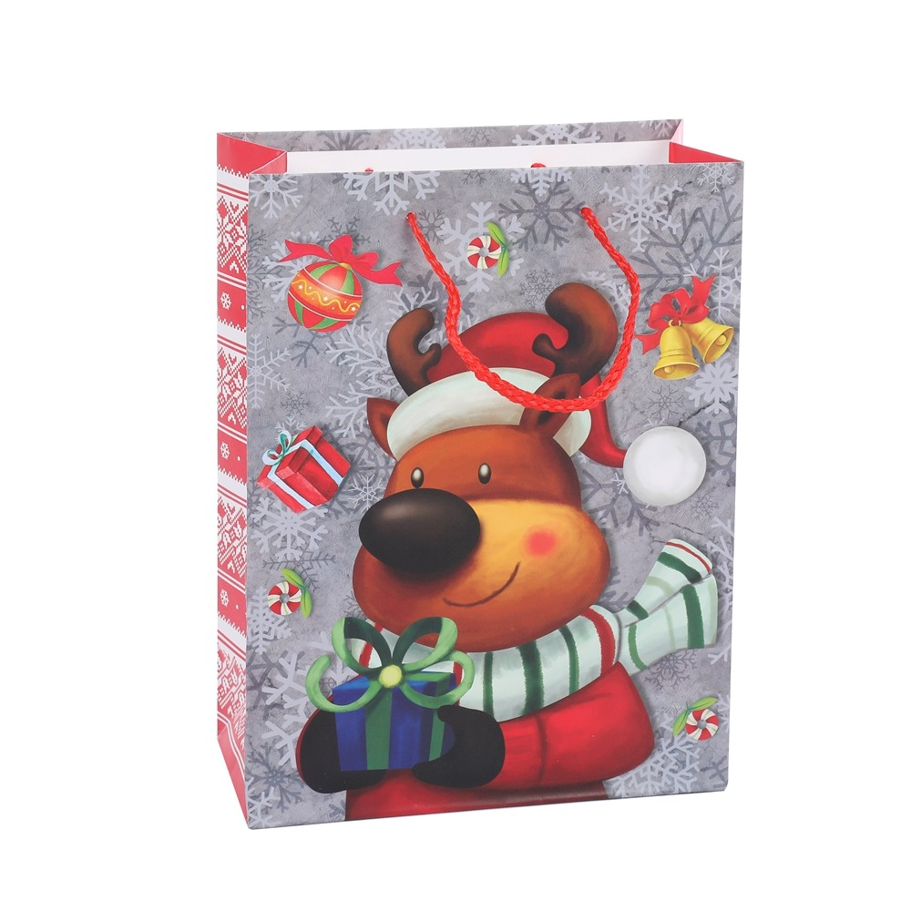 Special Design Cartoon Animal Heavy-Duty Christmas Shopping Gift Bags With Snow