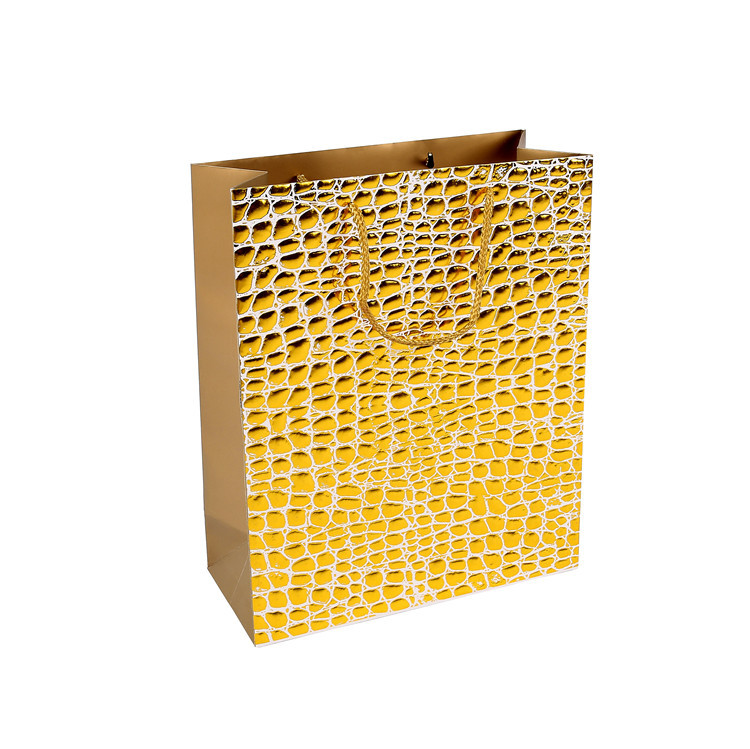 Promotional High Quality Decorative Golden Lining Easy Carry Paper Bags With Gold Handles