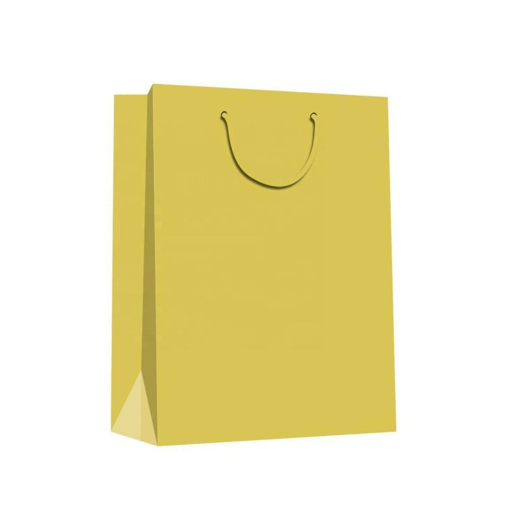 2019 Wholesale Fashion Solid Color Yellow Eco-friendly Paper Bags With Rope Handles