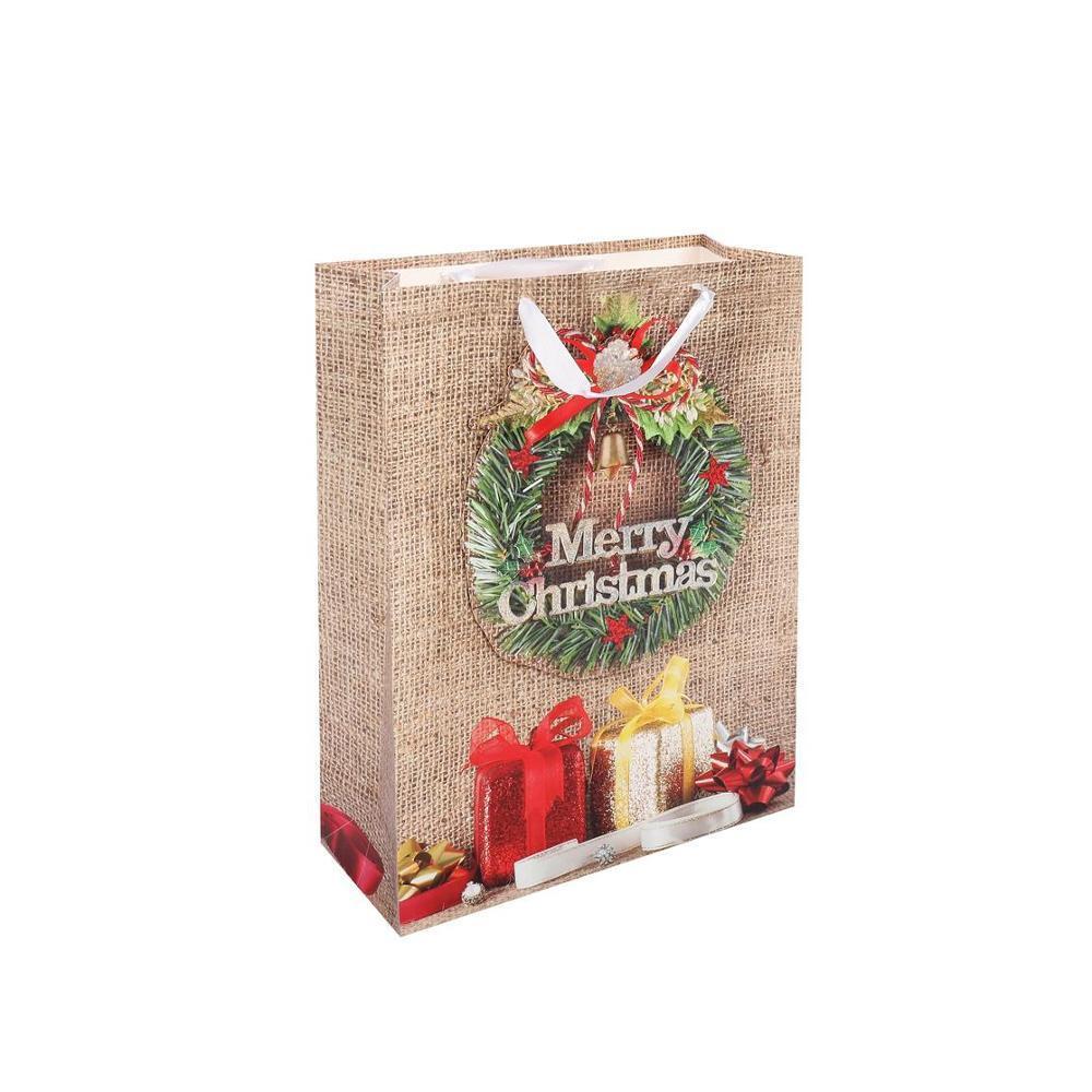 Custom Logo Print Wear Resistant Kraft Christmas Door Gift Paper Bag Fashion Shopping Paper Bag