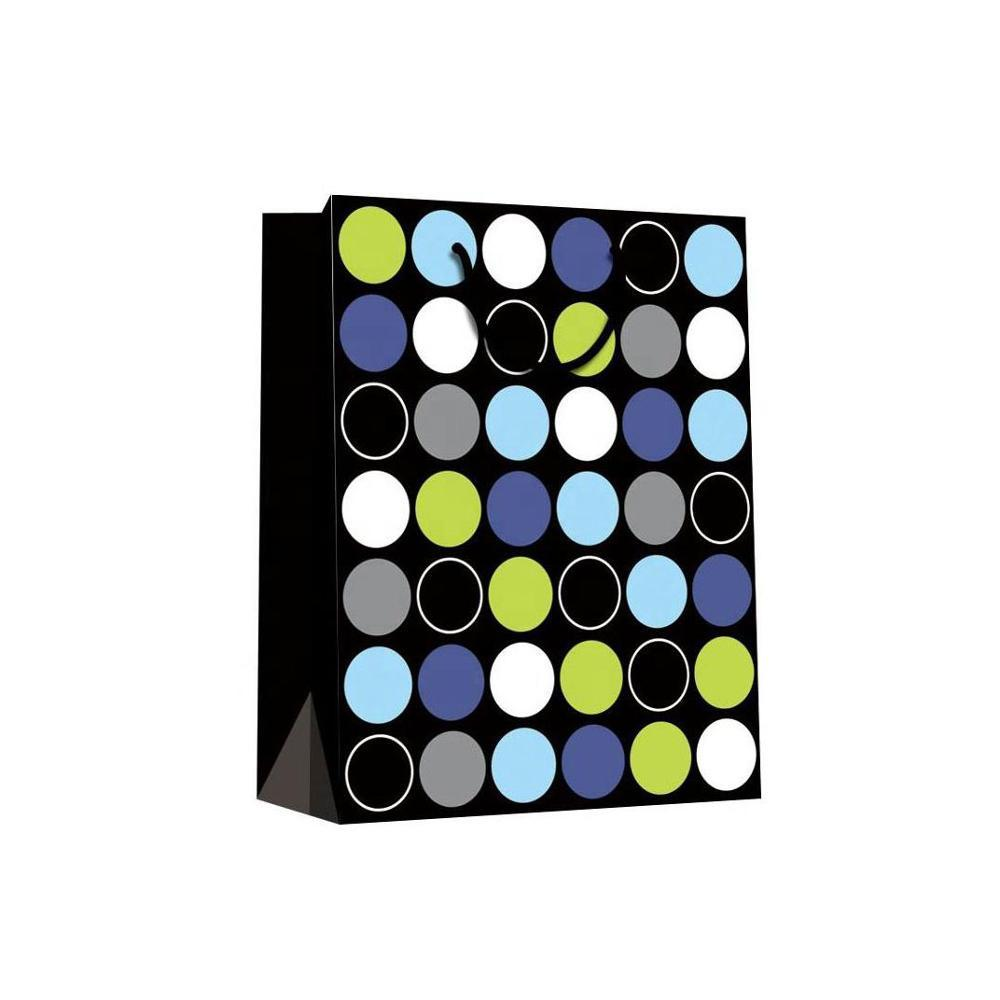Black Colorful Dot Flat Bottom Contracted Matt Laminated Shopping Paper Hand Bags