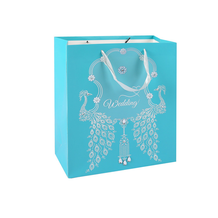 Embossing Custom Logo Printed Double Handle Durable Stand Up Blue Wedding Gift Bag