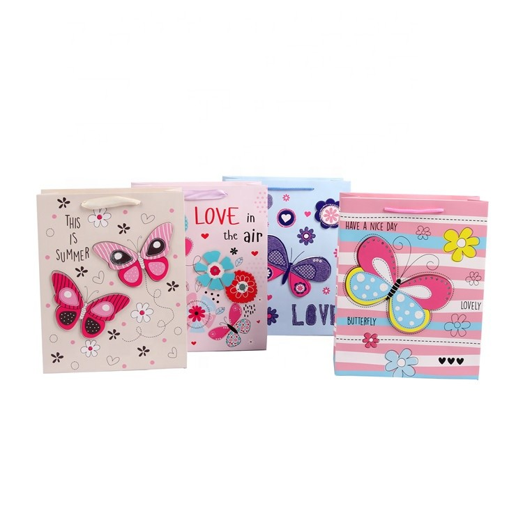 Custom Creative Cartoon Design Square Bottom Cute Paper Gift Bags With Flower Printed