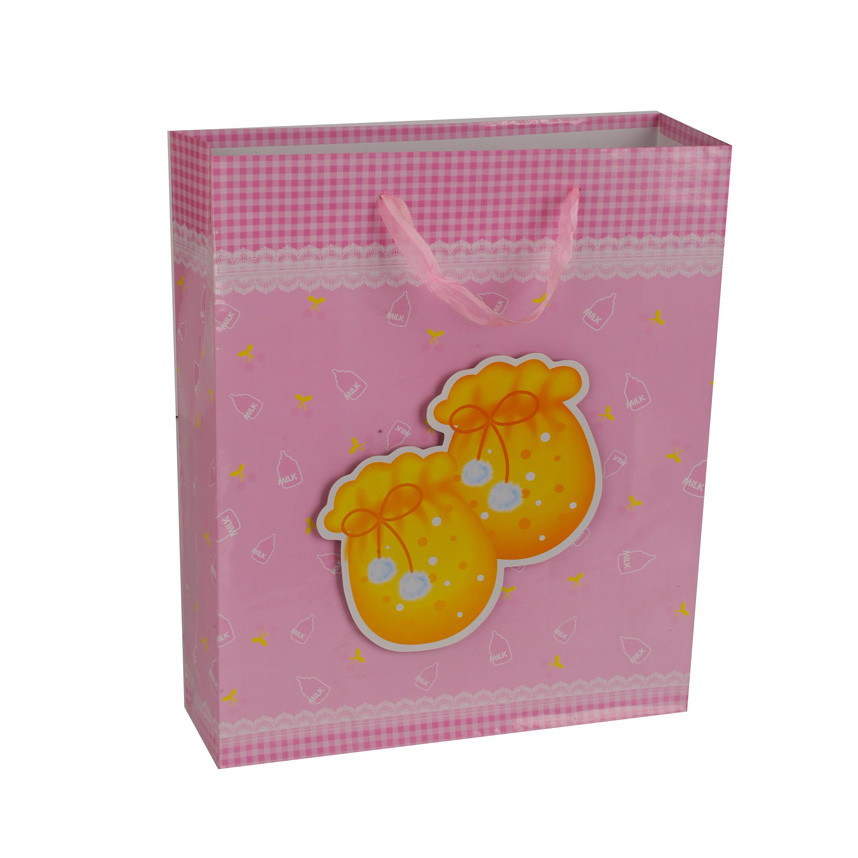 Wholesale Luxury Durable Folding Pink Cute Happy Birthday Paper Gift Bag