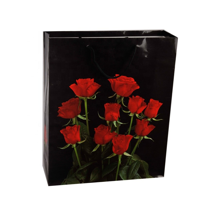 Wholesale Luxury Red Rose Printed Eco-friendly Black Paper Gift Bags With Handles