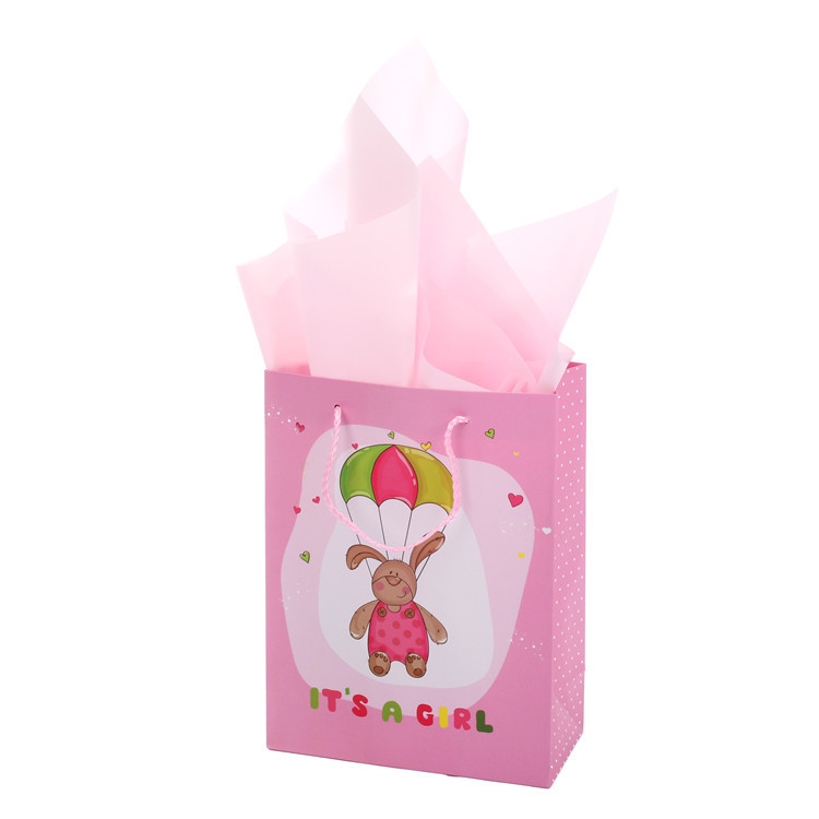 Top Quality Eco-friendly Cartoon Print Lovely Pink Paper Bag With Ribbon Handles