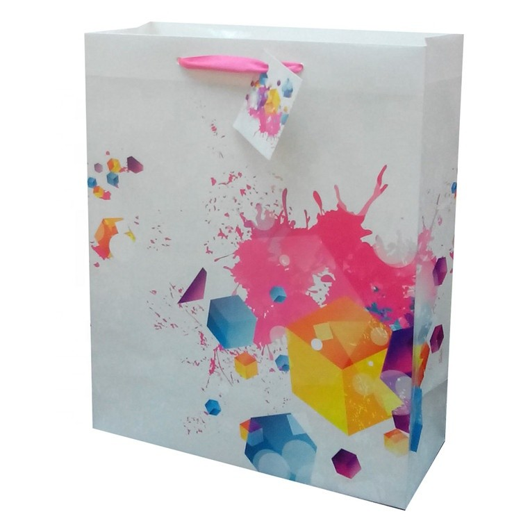 Hot Sale Luxury Foldable Graffiti Print Christmas Paper Bag With PP Rope Handles