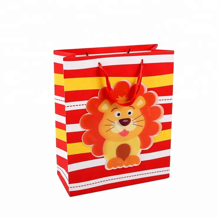 Children Fancy Warm Colors Cartoon Animal Contracted Ivory Paper Shopping Gift Bag