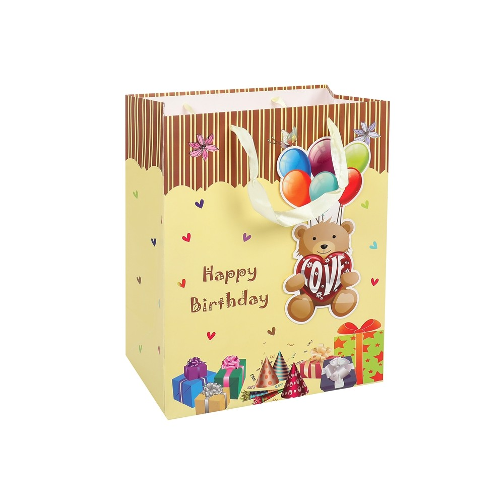 Custom Cartoon Printed Kids Birthday Party Fancy Paper Gift Bags With Rope Handles