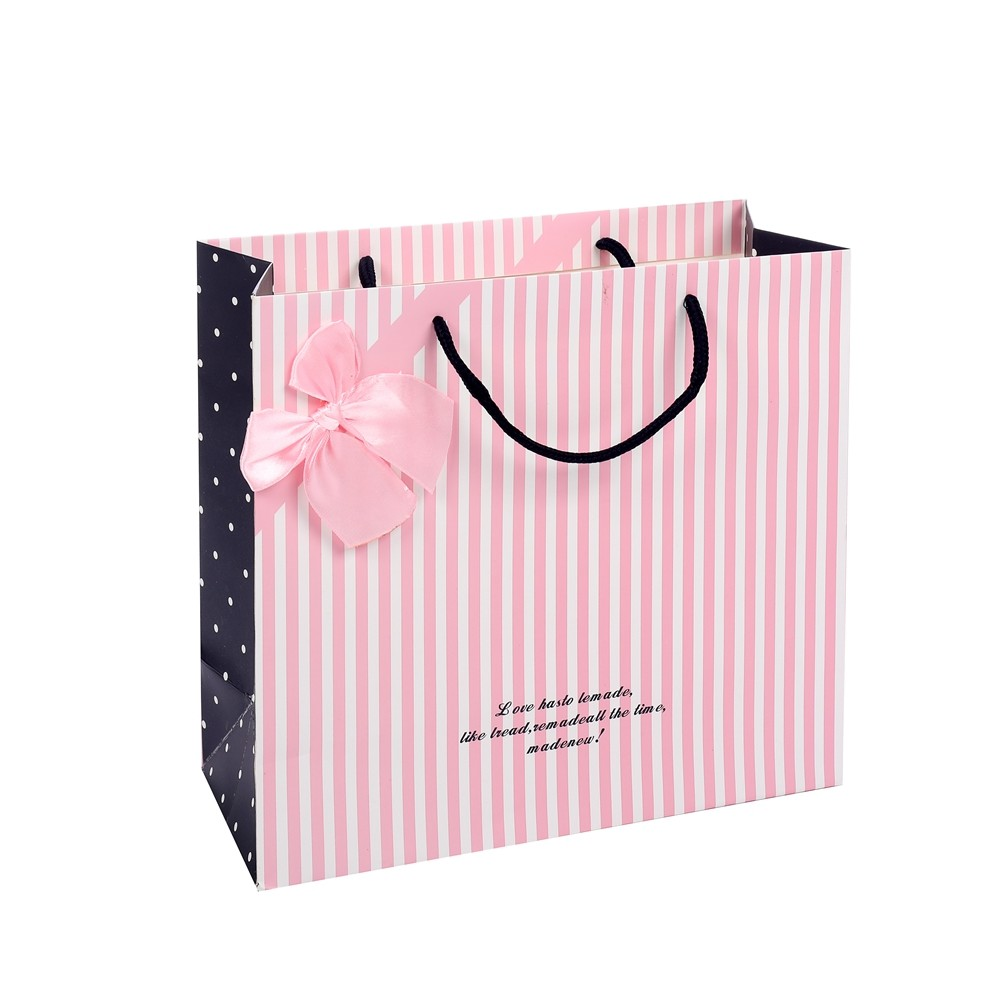 Hot Sale Simple Design Stripe Pink Rectangle Hand Kraft Paper Wrapping Bags