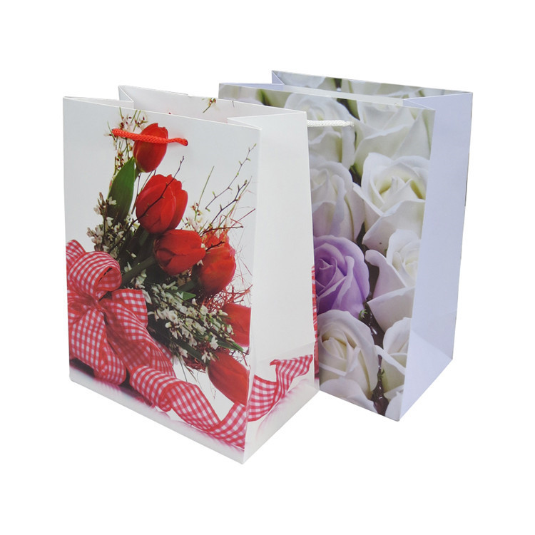 Excellent quality flower printed paper shopping bag eco friendly custom recycled paper bag