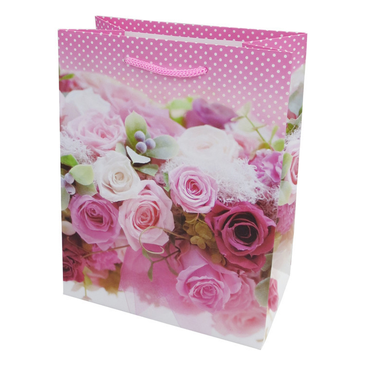 Factory supply paper shopping bag luxury exquisite high quality floral shopping paper bag