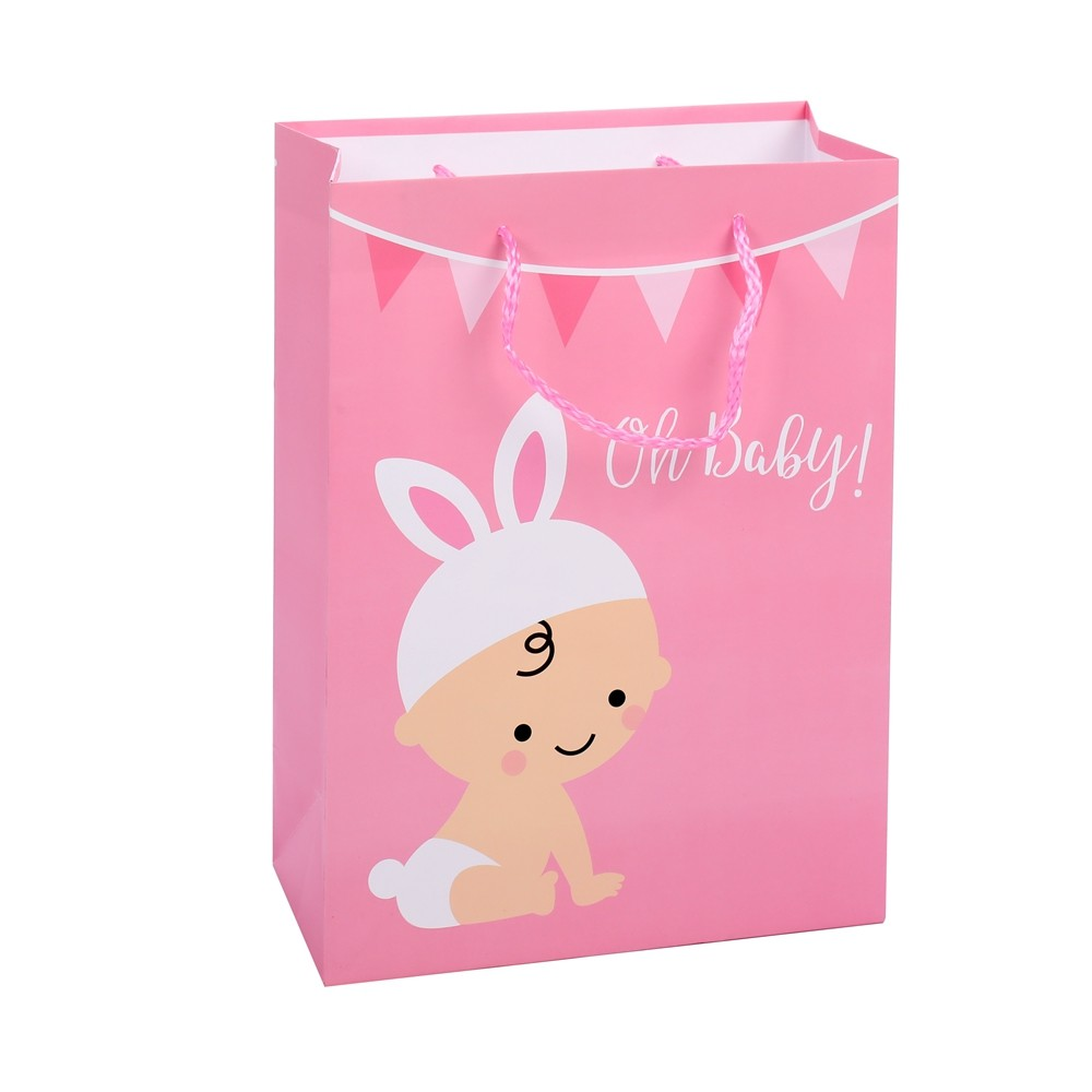 High Quality Pink Simple Practical Cartoon Baby Shower Shopping Paper Gift Bags