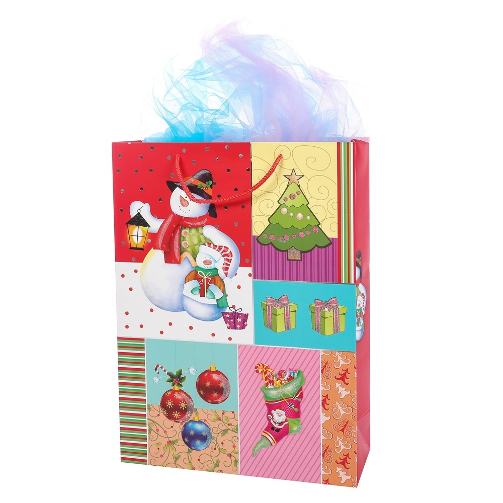 Hot Selling Design Cute Red Personalized Christmas Paper Gift Bags With Handle Mini Small Size