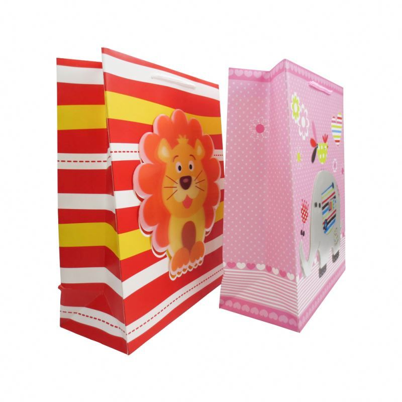 Custom made 3d printing cute paper gift bags with rope handles for children