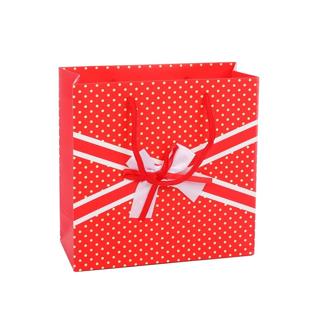 Good Quality Recycled Custom Printed Handmade Christmas Gift Red Paper Bag
