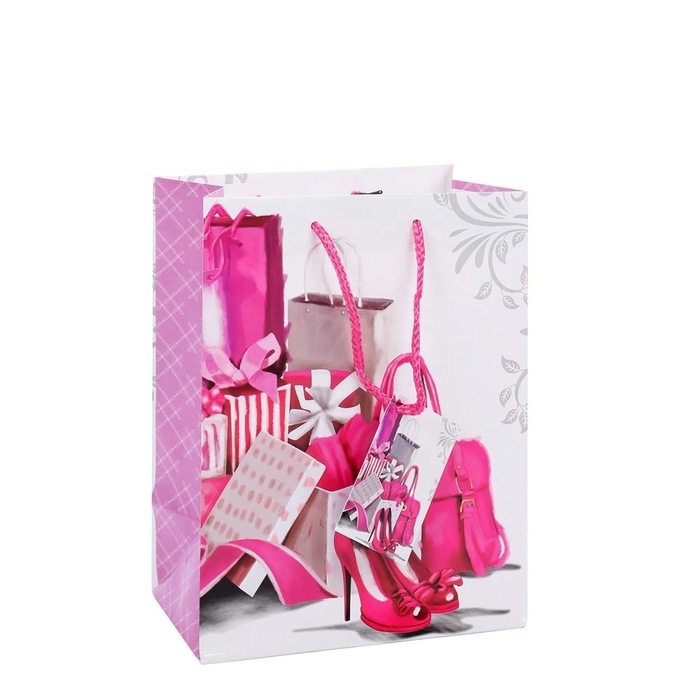 2019 Wholesale Custom Printing Girls Cheapest Pink Gift Handmade Shopping Paper Bags