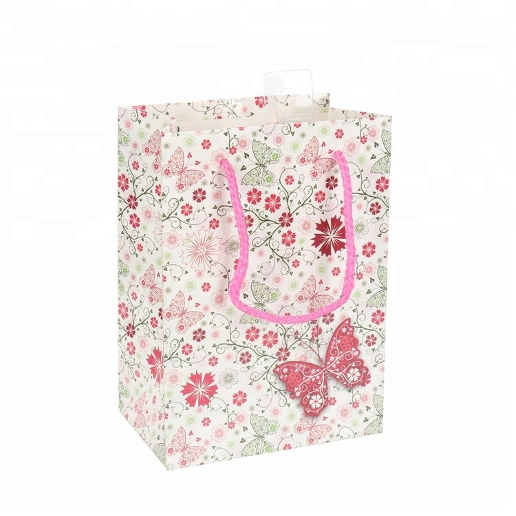 New Design Floral Design Foldable Coated Paper Shopping Gift Bags