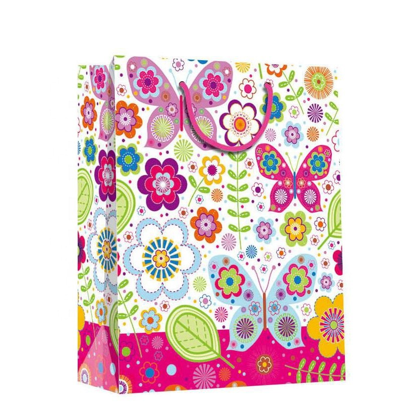 Custom Colorful Flower Printed Eco-friendly Foldable Cute Animal Paper Gift Bags With Handles