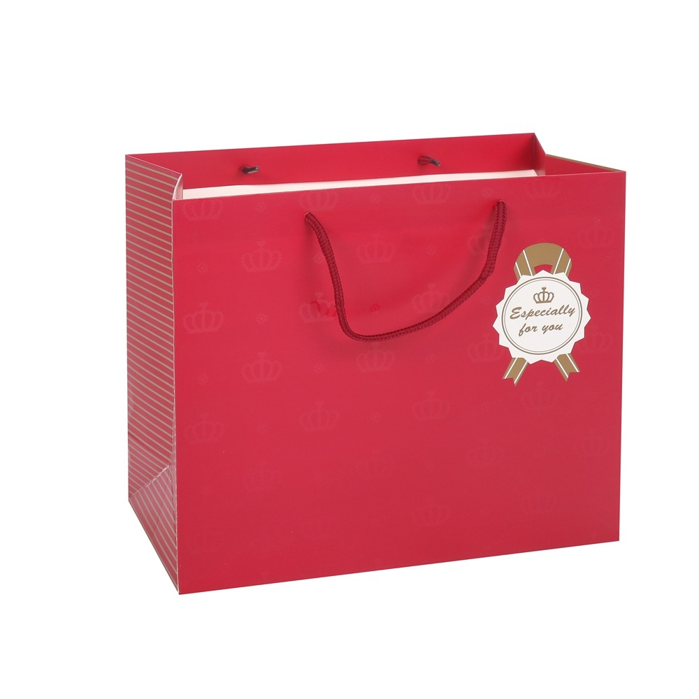 Wholesale Specially Custom Logo Printed Biodegradable Red Kraft Paper Gift Bags With Rope Handles