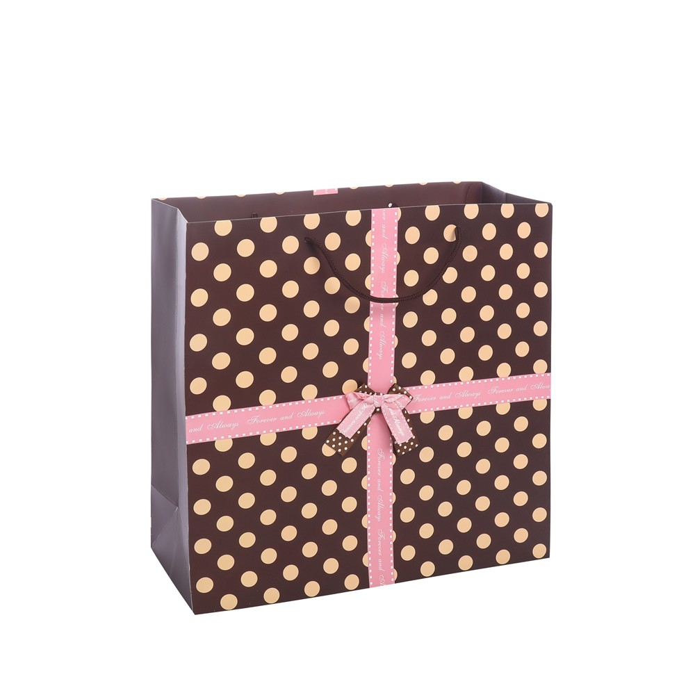 TOP Quality Reusable Custom Logo Luxury Tiny Brown Gift Bags For Birthday Paper Bags