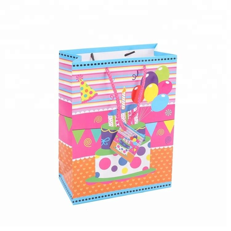 Custom Cute Folding Birthday Gift Packing Paper Bags