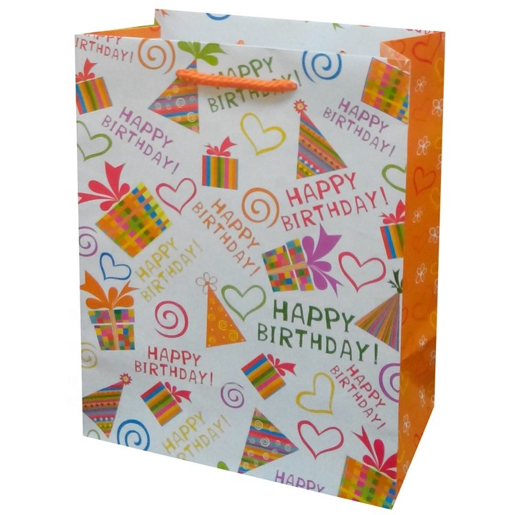 Hot Sale Fashion Custom Logo Printed Foldable Eco-friendly Happy Birthday Gift Paper Bags With Rope Handles