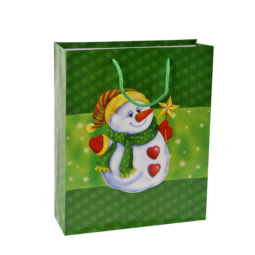 Heavy-duty Snowman Print Christmas Full Color Gift Paper Bag With Rope Handles