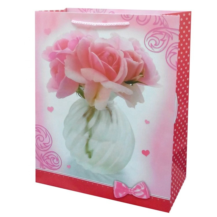 New Products Printing Flower Bowknot Pink Kraft Paper Bag With Logo Print