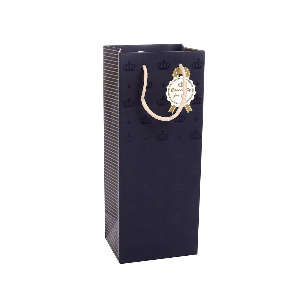 Eco-friendly Luxury Design Printing A Crown Wrapping Kraft Paper Bag With Rope Handles
