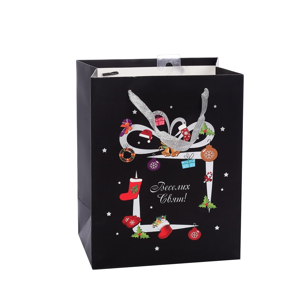 Promotional Portable Black Contracted Christmas Ivory Paper Bag With Silver Handle